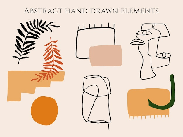Hand getekende abstracte organische vormen elementen lijn kunst tropische bladeren gezicht achtergrond