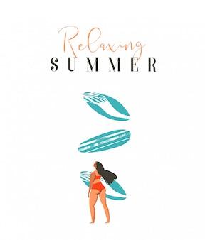 Hand getekende abstracte schattige zomertijd strand surfer meisje illustratie met rode bikini, surfplank en moderne kalligrafie citaat ontspannende zomer op witte achtergrond