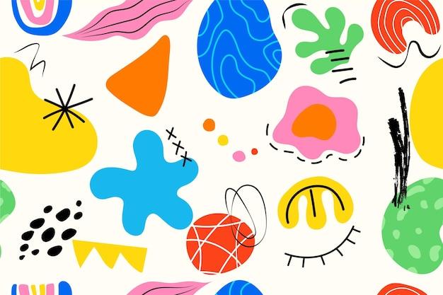 Hand getekende abstracte stijl vormen patroon Premium Vector