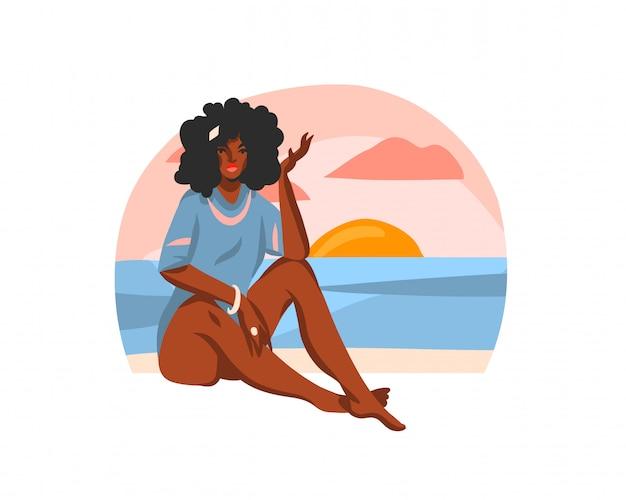 Hand getekende abstracte voorraad grafische illustratie met jonge gelukkig zwarte schoonheid vrouw, zittend op zonsondergang strand scène op witte achtergrond
