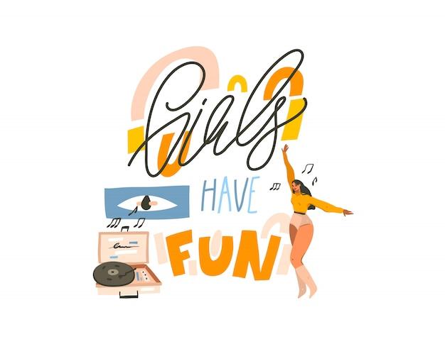 Hand getekende abstracte voorraad grafische illustratie met jonge lachende gelukkig vrouwtje, dansen thuis en luister muziek op vinyl platenspeler en meisjes hebben leuke tekst op witte achtergrond