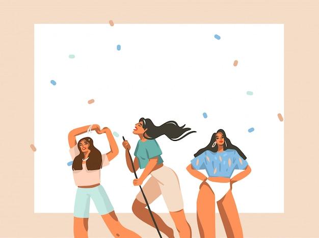 Hand getekende abstracte voorraad grafische illustratie met jonge lachende vrouwtjes groep hebben elke dag positieve routine thuis geïsoleerd op een witte achtergrond