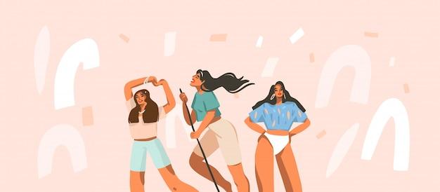 Hand getekende abstracte voorraad grafische illustratie met jonge lachende vrouwtjes groep hebben elke dag positieve routine thuis op witte confetti achtergrond.