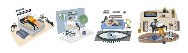Hand getekende abstracte voorraad grafische illustraties met jonge gelukkig multi-etnische collectie set van jonge huis freelancer mensen werken en studeren thuis op witte achtergrond