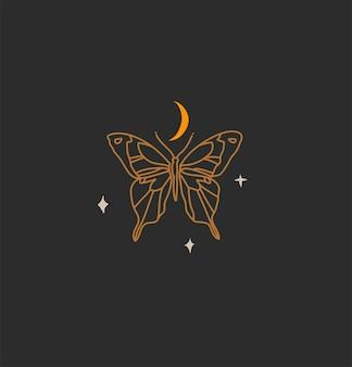 Hand getekende abstracte voorraad platte grafische vectorillustratie met logo element, boheemse magische kunst van gouden wassende maan, vlinder silhouet in eenvoudige stijl voor branding, geïsoleerd op zwarte achtergrond.