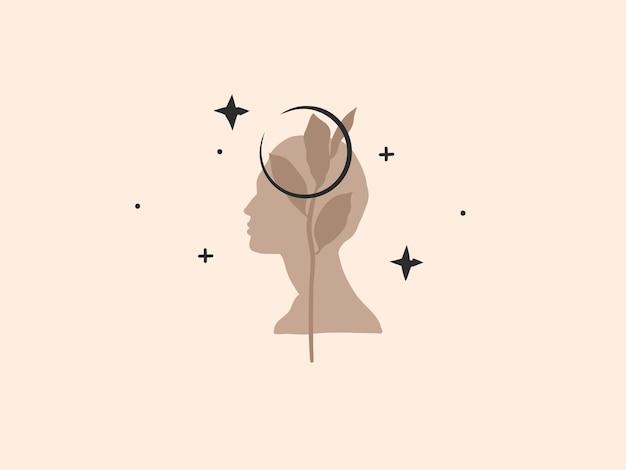 Hand getekende abstracte voorraad platte grafische vectorillustratie met logo element, boheemse magische kunst van halve maan, menselijk silhouet en bloemen blad in eenvoudige stijl voor branding, geïsoleerd op een achtergrond met kleur. Premium Vector