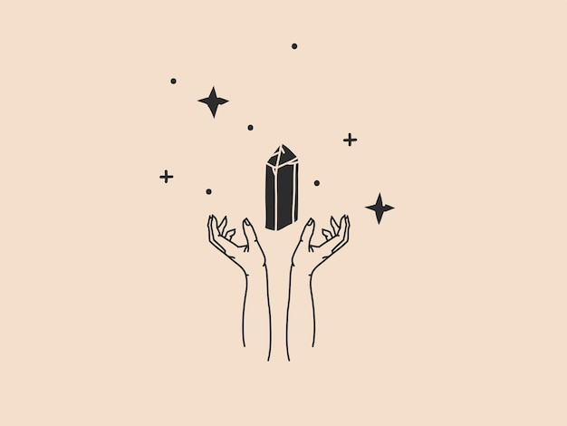 Hand getekende abstracte voorraad platte grafische vectorillustratie met logo element, boheemse magische lijntekeningen van kristal edelsteen, vrouw hand en ster in eenvoudige stijl voor branding, geïsoleerd op een achtergrond met kleur.