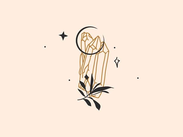 Hand getekende abstracte voorraad platte grafische vectorillustratie met logo element, boheemse magische lijntekeningen van kristal, halve maan en bladeren silhouet in eenvoudige stijl voor branding, geïsoleerd op een achtergrond met kleur