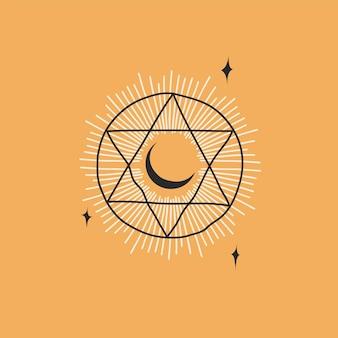 Hand getekende abstracte voorraad platte grafische vectorillustratie met logo elementboheemse astrologie magie...