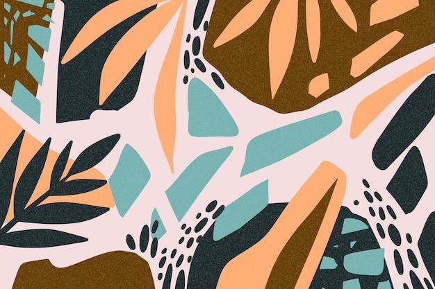 Hand getekende abstracte vormen behang