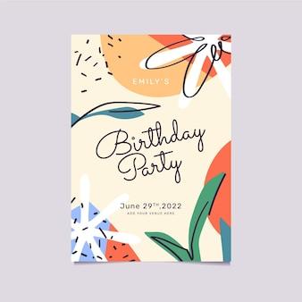 Hand getekende abstracte vormen verjaardagsuitnodiging