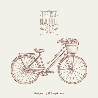 Hand getekende achtergrond met fiets en bloemen