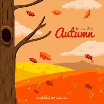 Hand getekende achtergrond met herfst landschap