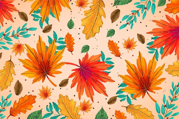 Hand getekende achtergrond met herfstbladeren Gratis Vector