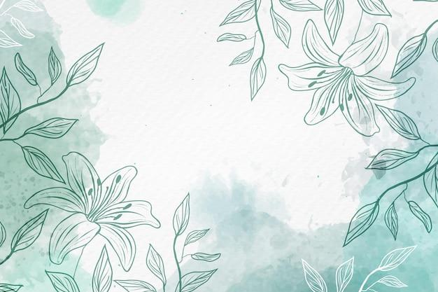 Hand getekende achtergrond met pastel bloemen kopiëren ruimte