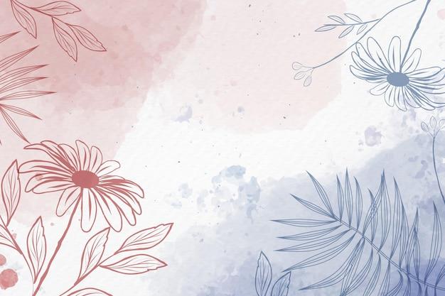 Hand getekende achtergrond met pastel bloemen