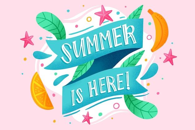 Hand getekende achtergrond met zomer thema