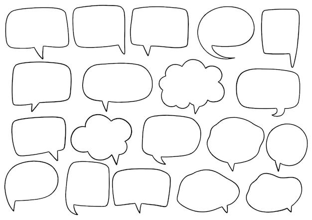 Hand getekende achtergrond set van schattige tekstballon in doodle stijl