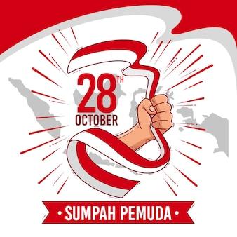 Hand getekende achtergrond sumpah pemuda