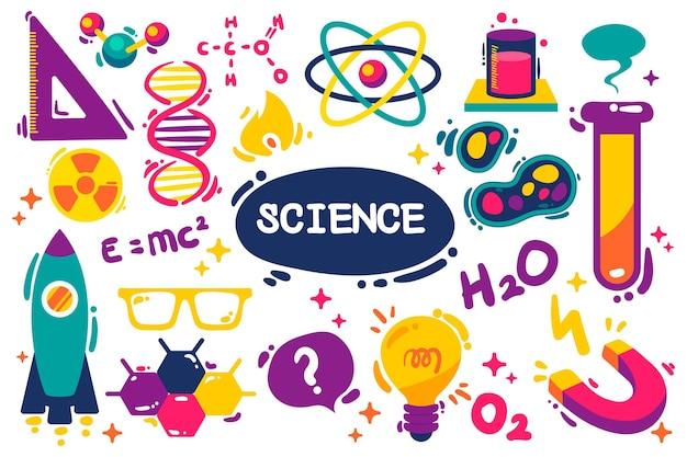 Hand getekende achtergrond van de wetenschap