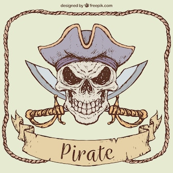 Hand getekende achtergrond van piraat schedel met zwaarden