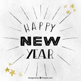 Hand getekende achtergrond voor het nieuwe jaar in vintage stijl