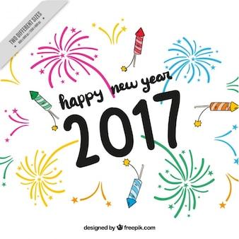 Hand getekende achtergrond voor het nieuwe jaar