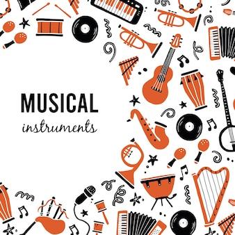 Hand getekende achtergronden sjabloon met muziekinstrumenten Premium Vector