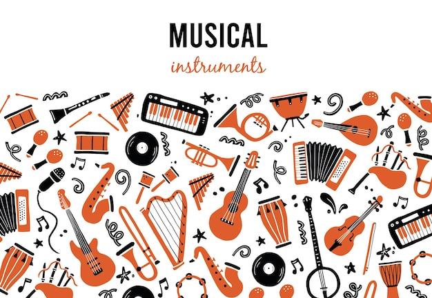 Hand getekende achtergronden sjabloon met muziekinstrumenten
