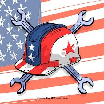 Hand getekende amerikaanse vlag en helm met moersleutels