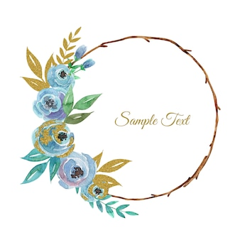Hand getekende aquarel bloemenkrans met blauwe rozen bloemen en gouden bladeren