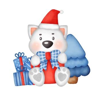 Hand getekende aquarel christmas wenskaart met schattige hond.