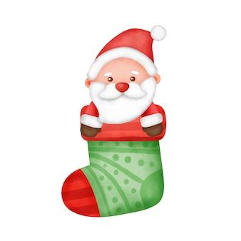 Hand getekende aquarel een cartoon kerstman in een kerst sok.