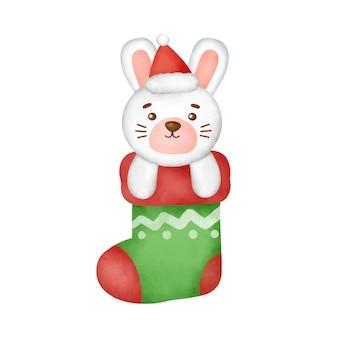 Hand getekende aquarel een cartoon konijn in een kerst sok.