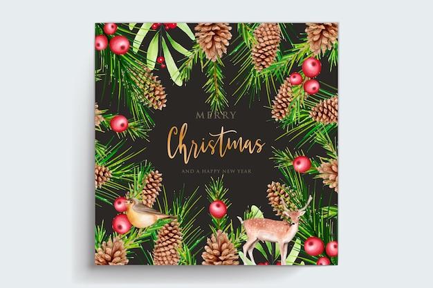 Hand getekende aquarel kerst achtergrond set