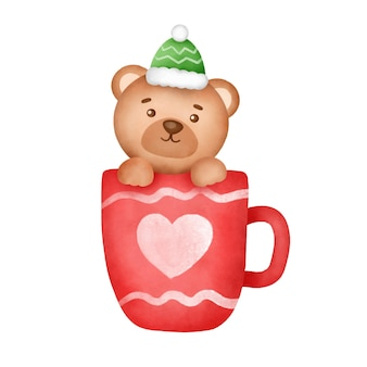 Hand getekende aquarel kerstkaart met een schattige beer.