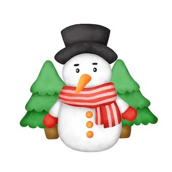 Hand getekende aquarel sneeuwpop voor christmas wenskaart.