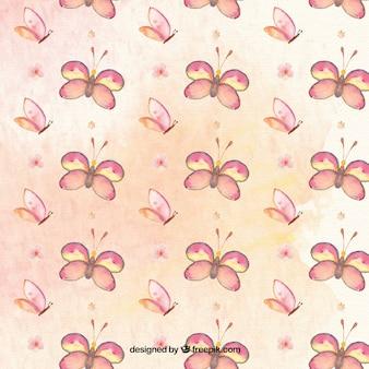 Hand getekende aquarel vlinderspatroon