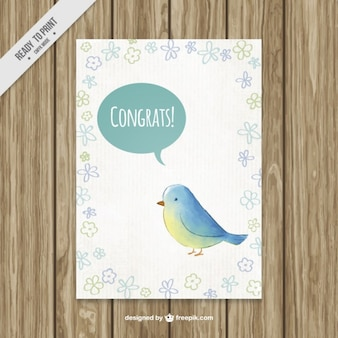 Hand getekende aquarel vogel gelukwensenkaart
