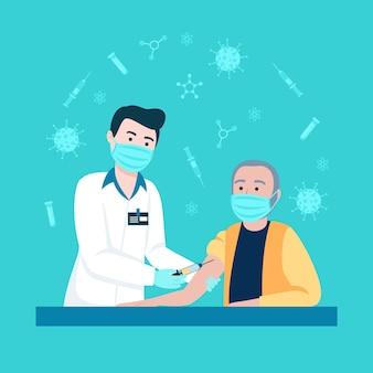 Hand getekende arts vaccin injecteren aan een patiënt