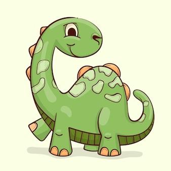 Hand getekende baby dinosaurus
