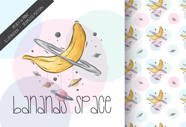 Hand getekende bananen ruimte illustratie naadloze patroon