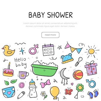 Hand getekende banner van baby-elementen. achtergrond ontwerpsjabloon. pictogrammen in lineaire handgetekende stijl. vector illustratie.