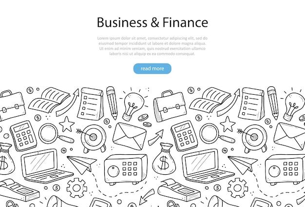 Hand getekende banner van zakelijke en financiële elementen