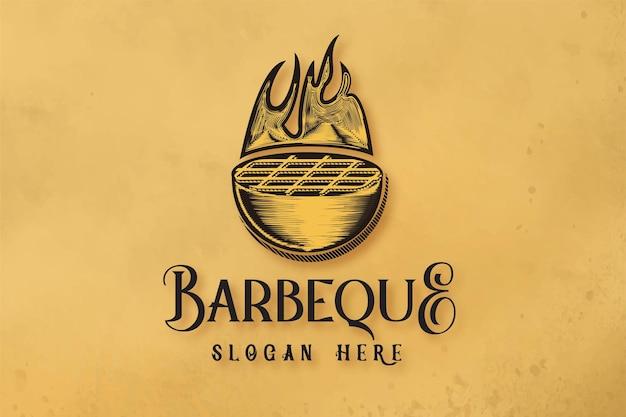 Hand getekende barbecue grills logo ontwerpen inspiratie