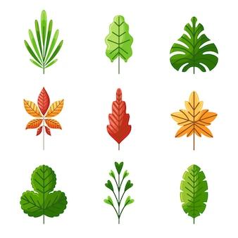 Hand getekende bladeren illustratie