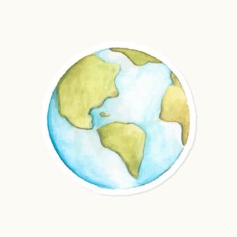 Hand getekende blauwe wereldbol sticker vector