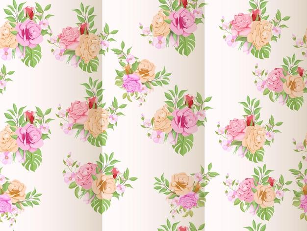 Hand getekende bloemen aquarel naadloze patroon
