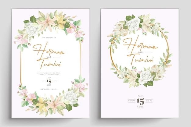 Hand getekende bloemen bruiloft uitnodiging sjabloon ontwerp