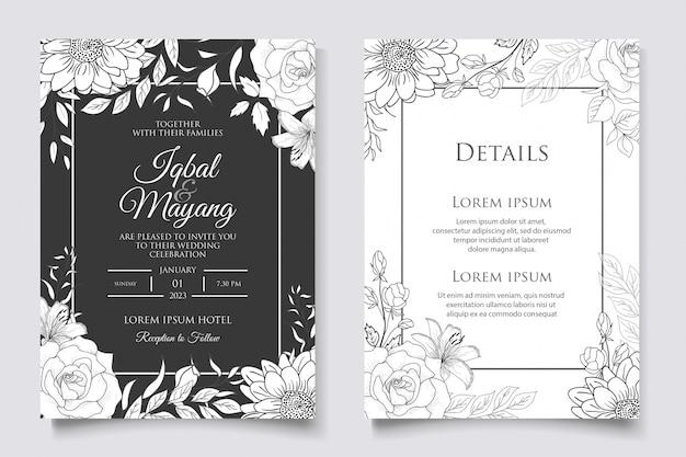 Hand getekende bloemen bruiloft uitnodiging sjabloon